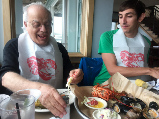 The excitement of figuring out how to eat a lobster is too much.